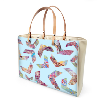 Handbag with Blue Print and Colourful Chevrons