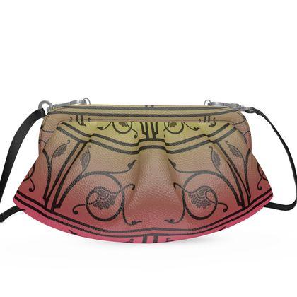 Large Pleated Soft Frame Bag - Medieval Pattern 6 of 8