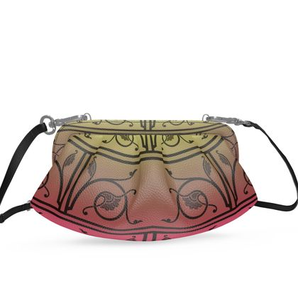 Small Pleated Soft Frame Bag - Medieval Pattern 6 of 8