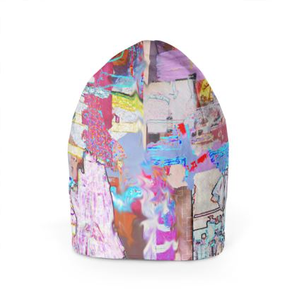 Beanie Hat with Vibrant Multi-coloured Print.