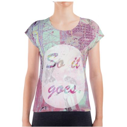 Colourful Ladies T Shirt with 'So it goes' Graphic
