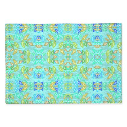 Fabric Placemats, Turquoise, Yellow, Leaf  Slipstream  Egypt