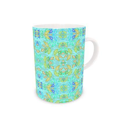 Bone China Mug, Turquoise, Yellow, Leaf,  Slipstream  Egypt