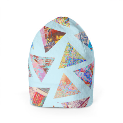 Beanie Hat with Abstract Triangles on Blue