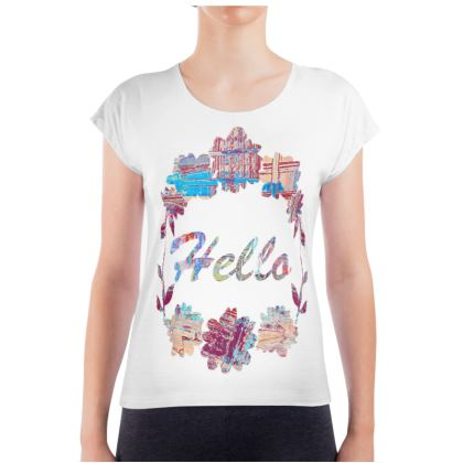 Ladies T Shirt with Colourful 'Hello' Graphic