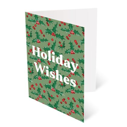 Holly [Light Green] Holiday Wishes Christmas Card