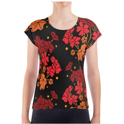 Red Geraniums Ladies T Shirt
