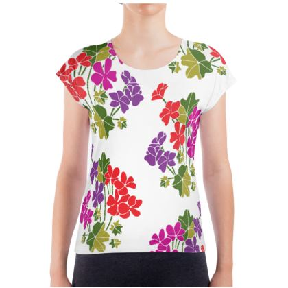 Bright Geraniums Ladies T Shirt