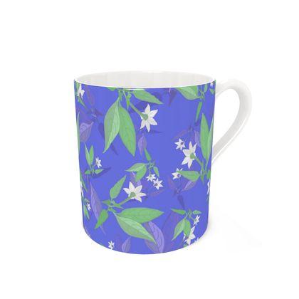 Bone China Mug, Blue, White, Flower  Jasmine  Winter