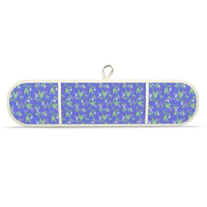 Double Oven Glove Blue, White, Flower  Jasmine  Winter