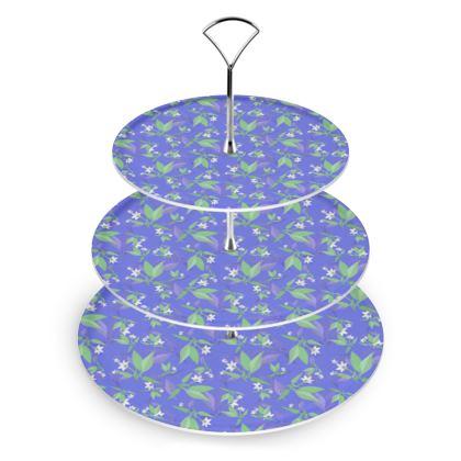 Cake Stand, Blue, White, Flower  Jasmine  Winter