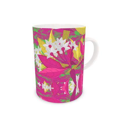 Bone China Mug, Pink, Yellow  Christmas  Jasmine  Ruby