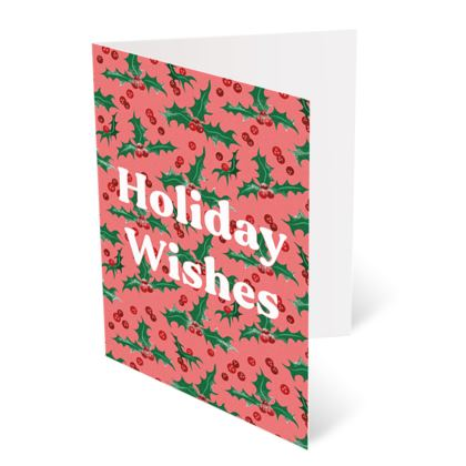 Holly [Punchy Pink] Holiday Wishes Christmas Card