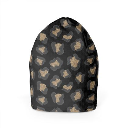 Leopard Print Black Beanie