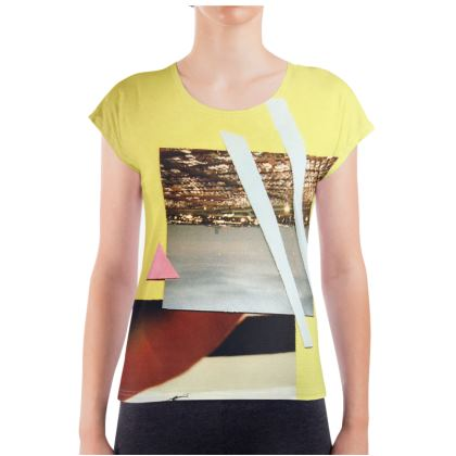Yellow Ladies T Shirt with Collage Artwork