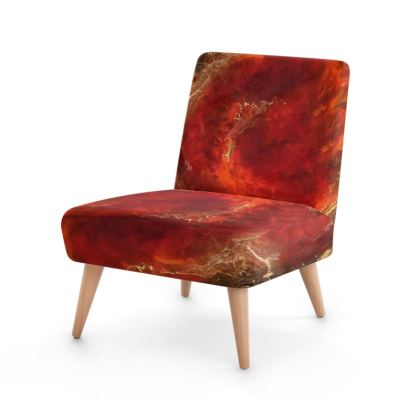 Royal Red Abstract Art Occasional Chair