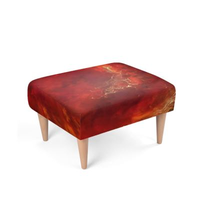 Royal Red Abstract Art Footstool