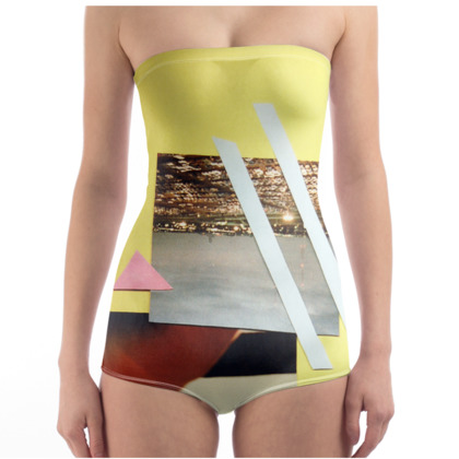 Yellow Swimsuit with Collage Art