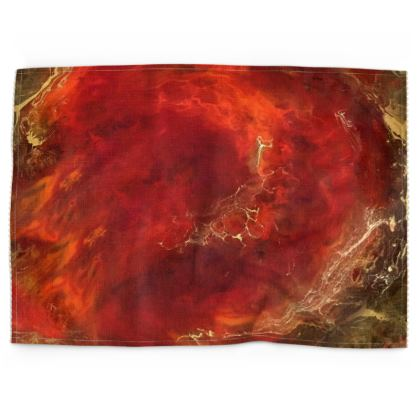 Royal Red Abstract Art Tea Towels