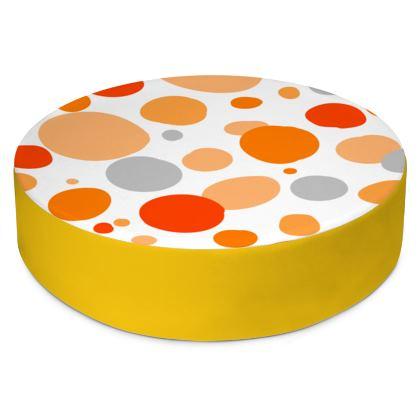 Orange Joy - Round Floor Cushion abstract bright cheerful gift summer
