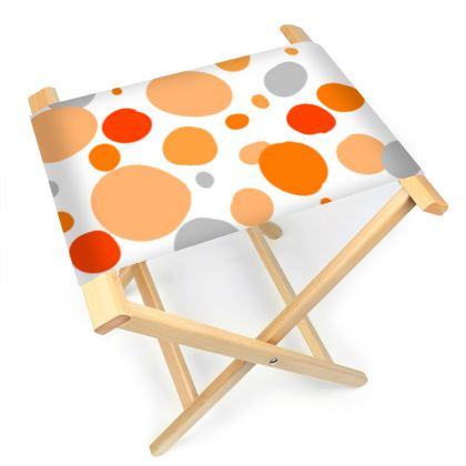 Orange Joy - Folding Stool Chair - abstract bright spots,summer gift
