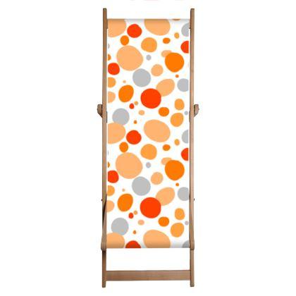 Orange Joy - Deckchair - abstract bright spots, cheerful gift, summer