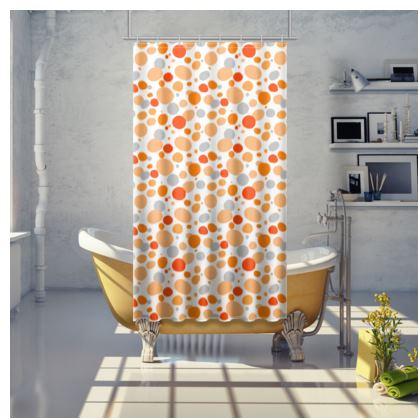 Orange Joy - Shower Curtain - abstract bright spots, cheerful gift