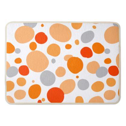 Orange Joy - Bath Mat - abstract bright spots, cheerful gift, sunny