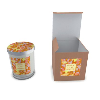 Set Candle In Glass, Orange, Brown,   Diamond Leaves  Toffee