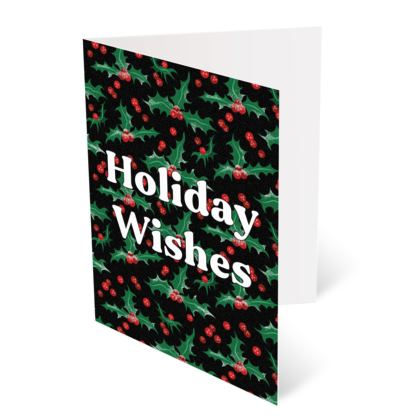 Holly [Black] Holiday Wishes Christmas Card