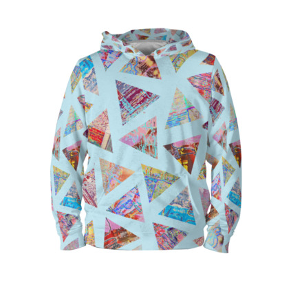 Blue Hoodie with Abstract Triangle Print
