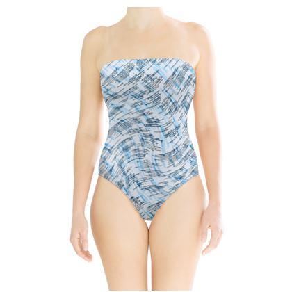 Strapless Swimsuit - Petri Family Blue Remix