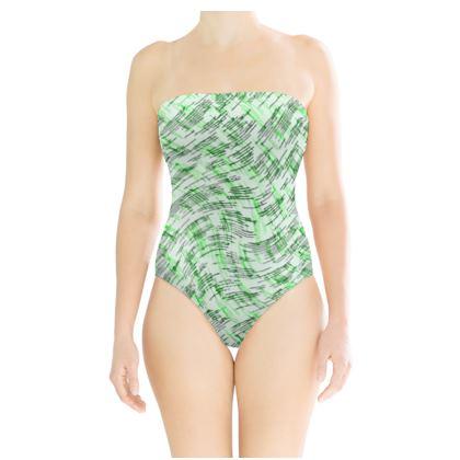 Strapless Swimsuit - Petri Family Green Remix