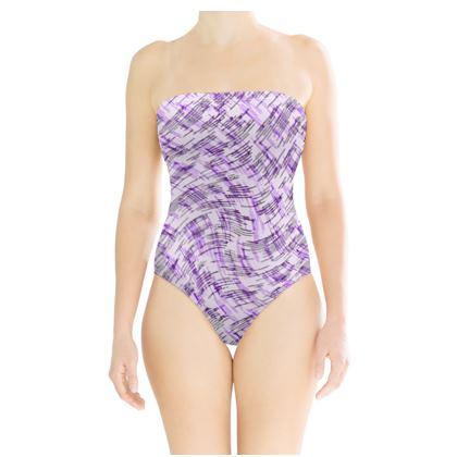 Strapless Swimsuit - Petri Family Purple Remix