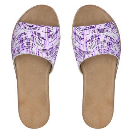 Womens Leather Sliders - Petri Family Purple Remix