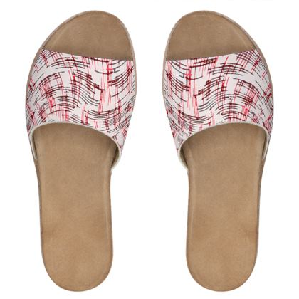 Womens Leather Sliders - Petri Family Red Remix