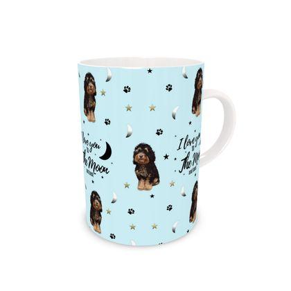 Black and tan dog tall bone china mug