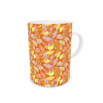 Bone China Mug, Caramel, Yellow, Leaves  Diamond Leaves  Toffee