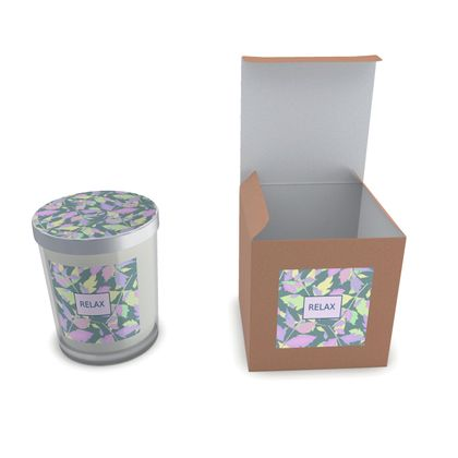 Set Candle In Glass Green grey, Leaf, Lilac,  Diamond Leaves  Moonglow