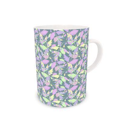 Bone China Mug, Leaf Grey green, Lilac  Leaf  Diamond Leaves  Moonglow
