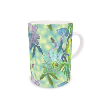 Bone China Mug, Turquoise, Yellow, Flower  Passionflower  Seaspray