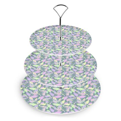Cake Stand Lilac, Green Grey, Leaf  Diamond Leaves  Moonglow