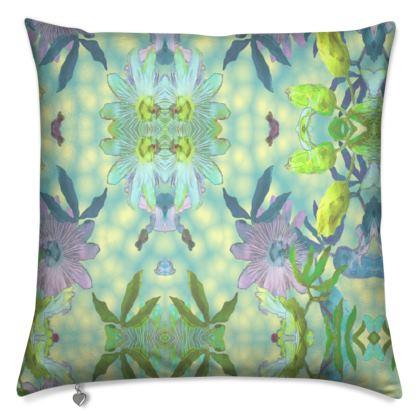 Cushions, Turquoise, Mauve, Flower  Passion flower  Seaspray