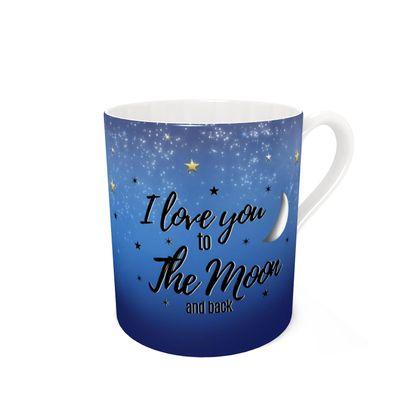 Black & tan I love you to the moon bone china mug