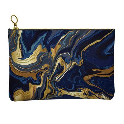 Indigo Ocean Leather Clutch Bag
