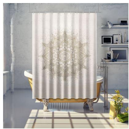 Golden mandala shower curtain - beige