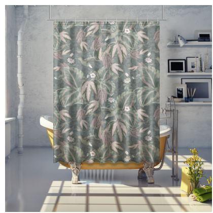 Botanical garden & hummingbirds shower curtain
