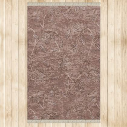 Large terracotta paisley oriental kilim fringed rug