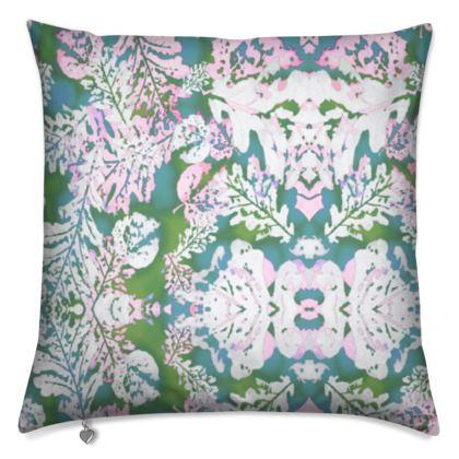 Cushion Turquoise, Green, Leaf  Oaks  Frozen Stream