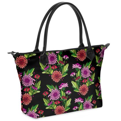 Chrysanthemums Zip Top Handbag